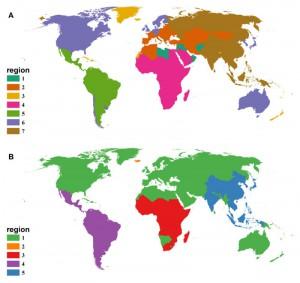 Mapa de enfermedades humanas, por plagas o no vectorizadas, plagas en el mundo